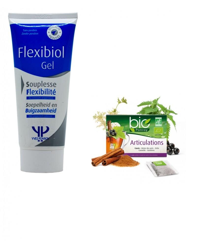 Flexibiol +  ekologiška arbata Bio Ponroy Articulations (sąnariams – vertimas iš prancūzų kalbos)