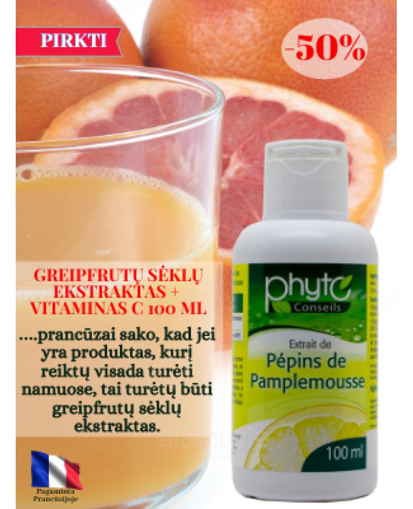 Greipfrutų sėklų ekstraktas + vitaminas C  100 ml