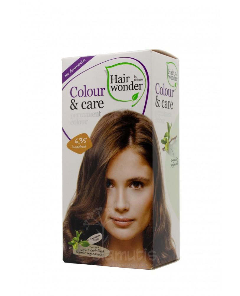 Hairwonder Colour & Care ilgalaikiai plaukų dažai be amoniako  spalva riešuto 6.35