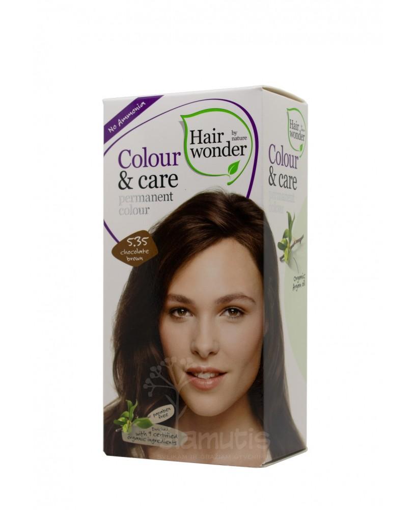 Hairwonder Colour & Care ilgalaikiai plaukų dažai be amoniako  spalva šokolado ruda  5.35