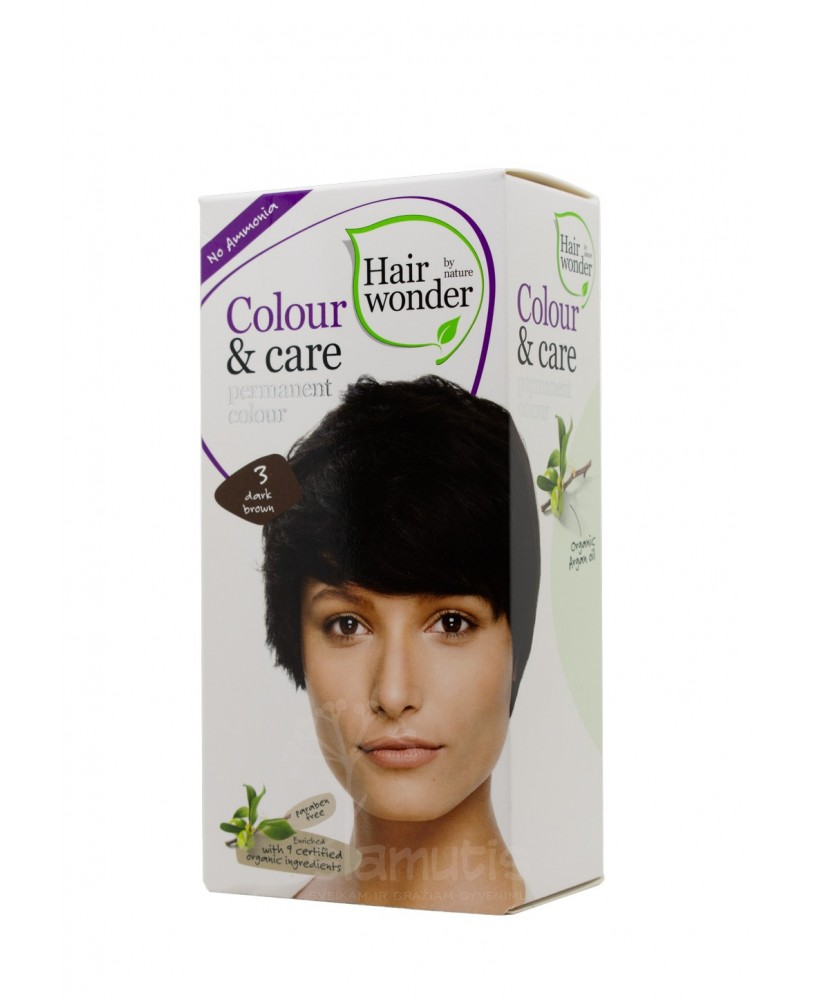 Hairwonder Colour & Care ilgalaikiai plaukų dažai be amoniako  spalva tamsi ruda 3