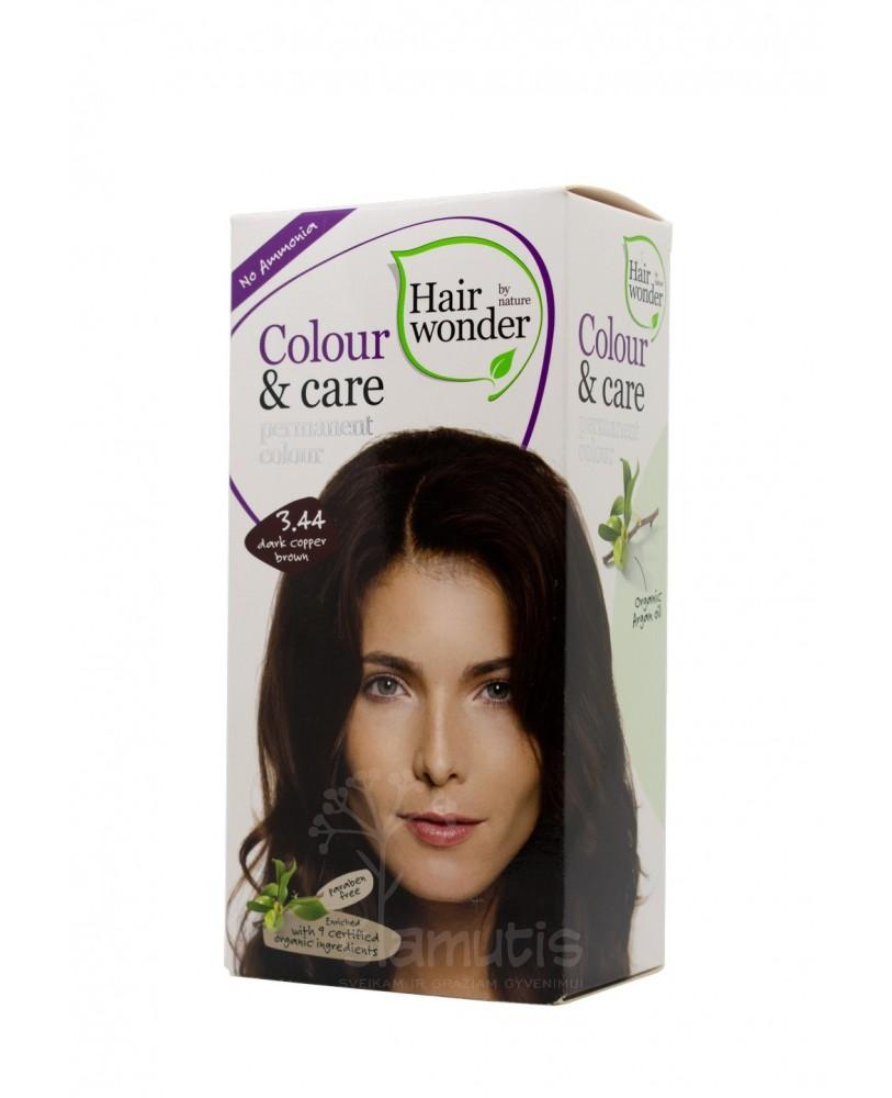 Hairwonder Colour & Care ilagalaikiai plaukų dažai be amoniako spalva tamsi vario ruda 3.44