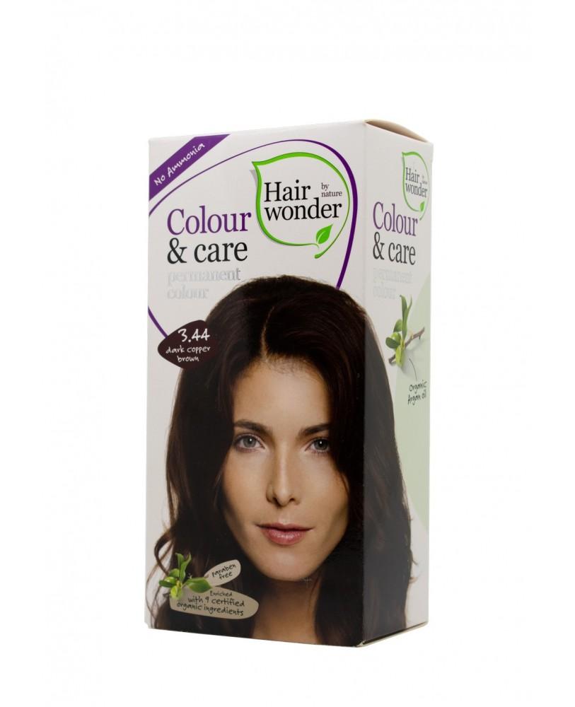 Plaukų dažai be amoniako Colour & Care spalva tamsi vario ruda 3.44