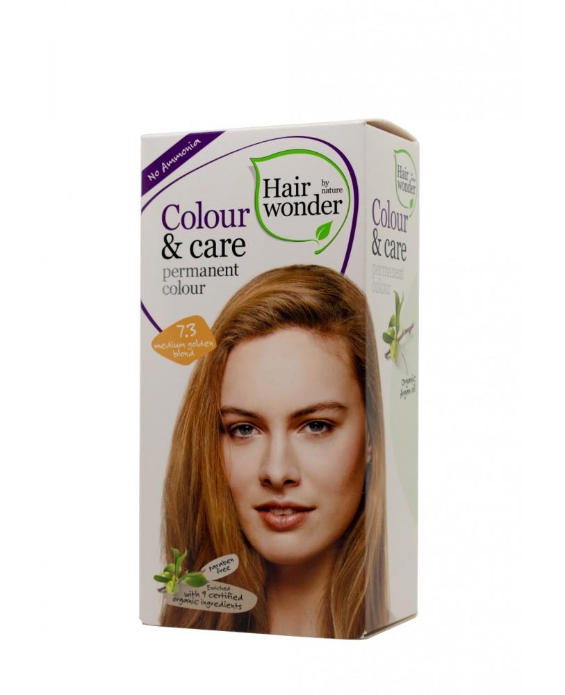 Hairwonder Colour & Care ilgalaikiai plaukų dažai be amoniako spalva  vidutinė aukso blondinė 7.3 <span>+ DOVANA</span>