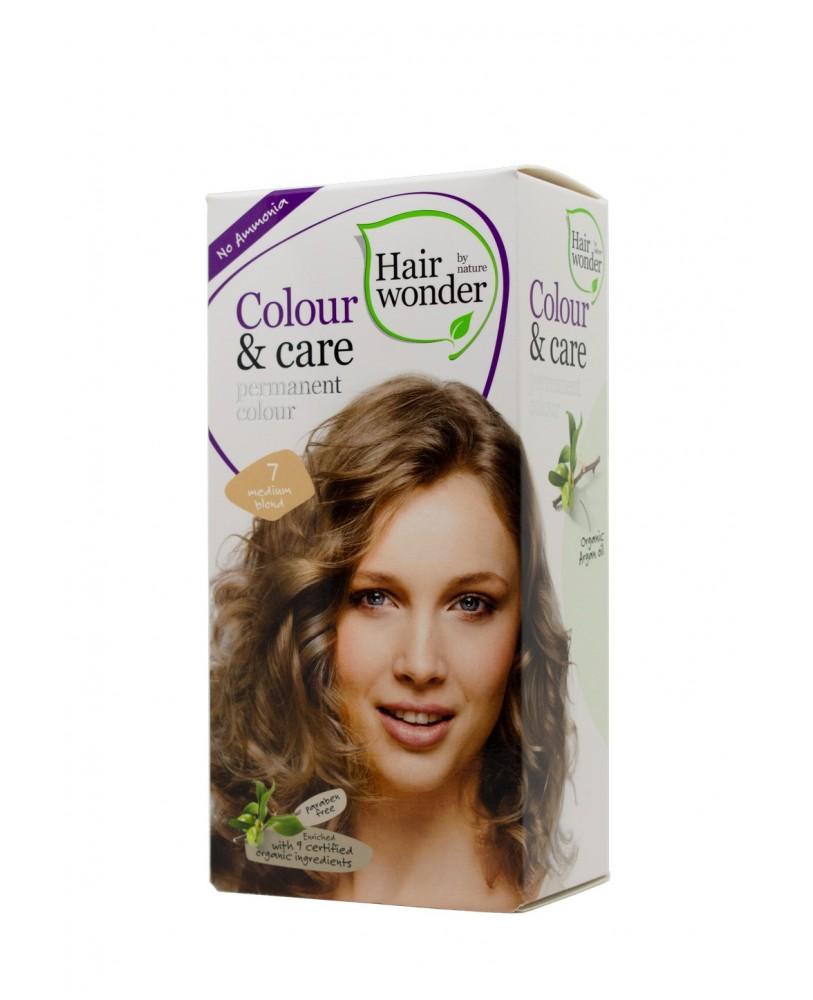 Hairwonder Colour & Care  ilagalaikiai plaukų dažai be amoniako  spalva vidutinė blondinė 7