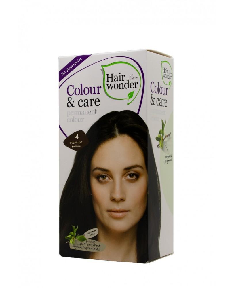 Plaukų dažai be amoniako Colour & Care spalva vidutinė ruda 4 <span>+ DOVANA</span>