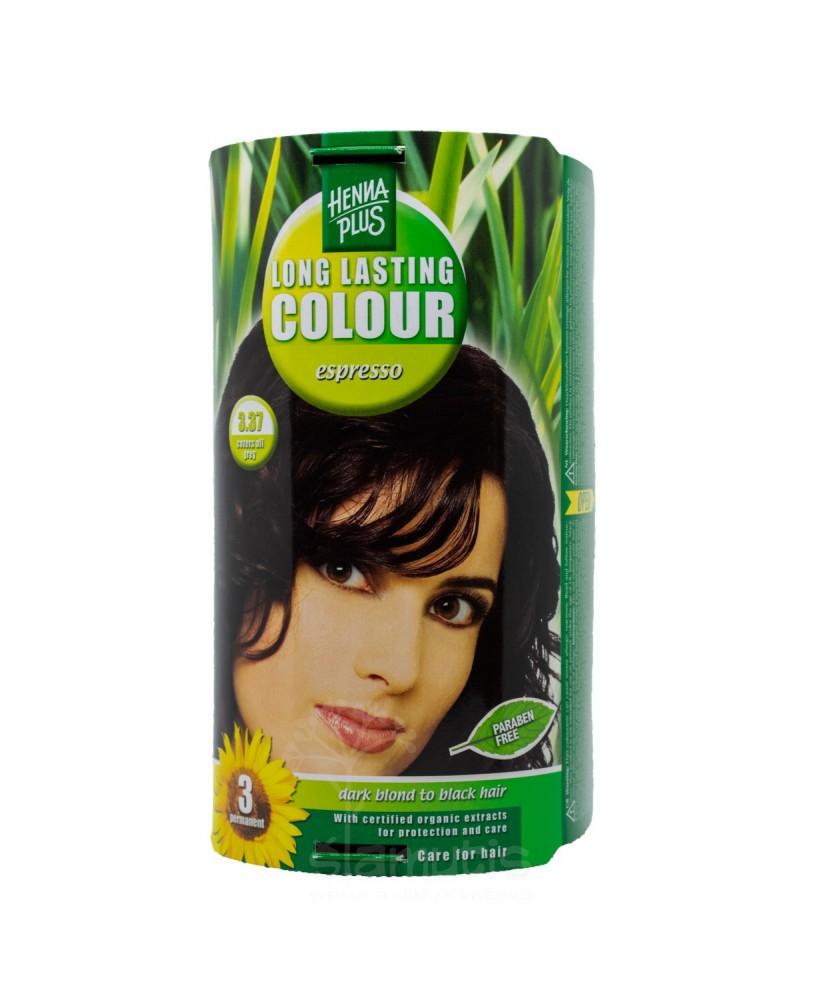Hennaplus plaukų dažai ilgalaikiai spalva espreso 3.37