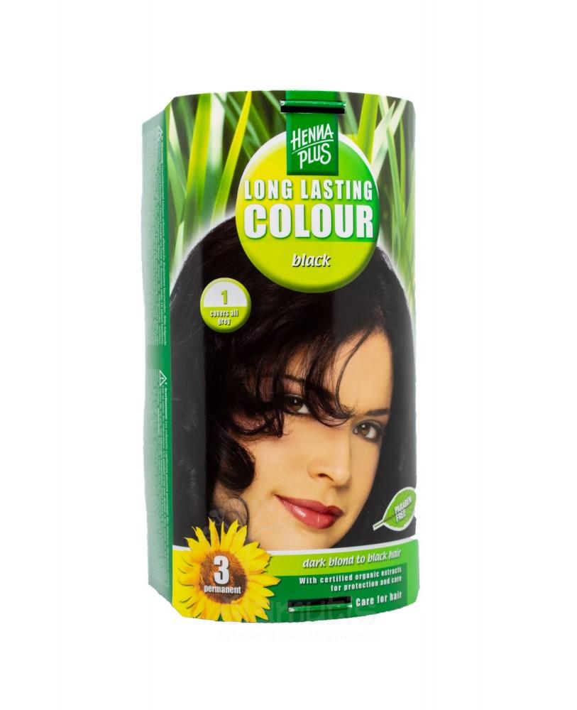 Hennaplus plaukų dažai ilgalaikiai spalva juoda 1
