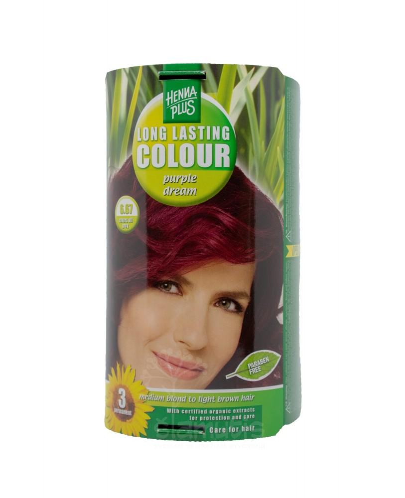 Hennaplus plaukų dažai ilgalaikiai spalva karališka purpurinė 6.67