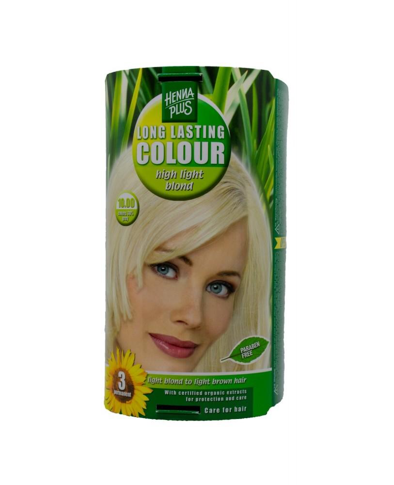 Hennaplus  plaukų dažai ilgalaikiai spalva labai šviesi blondinė 10