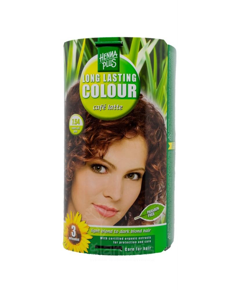 Hennaplus plaukų dažai ilgalaikiai spalva latte kavos 7.54