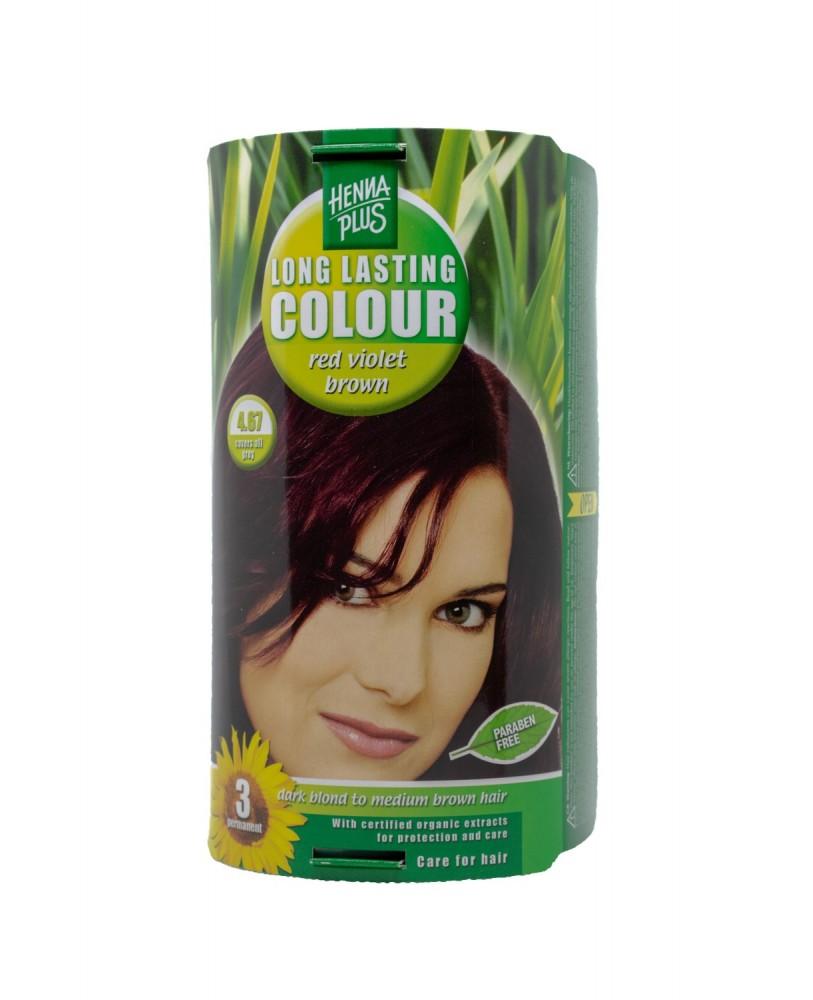 Hennaplus plaukų dažai ilgalaikiai spalva raudona violetinė ruda 4.67