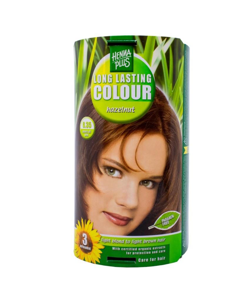 Hennaplus plaukų dažai ilgalaikiai spalva riešuto 6.35