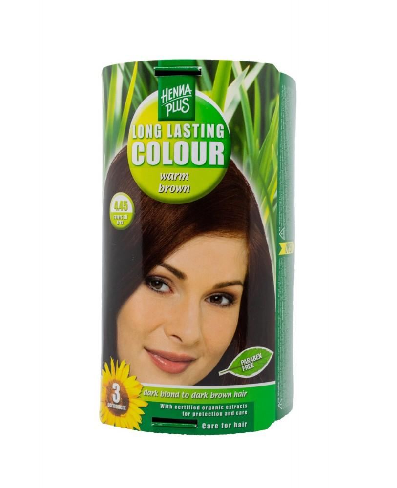 Hennaplus  plaukų dažai ilgalaikiai spalva šilta ruda 4.45
