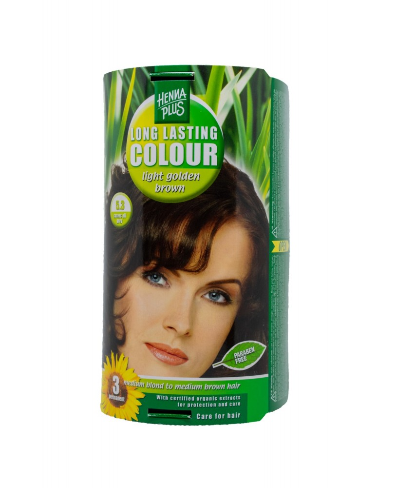 Hennaplus plaukų dažai ilgalaikiai spalva šviesi aukso ruda 5.3