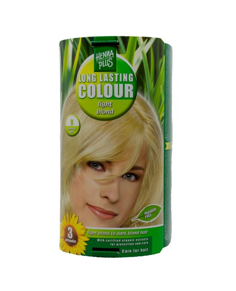 Hennaplus plaukų dažai  ilgalaikiai spalva šviesi blondinė 8