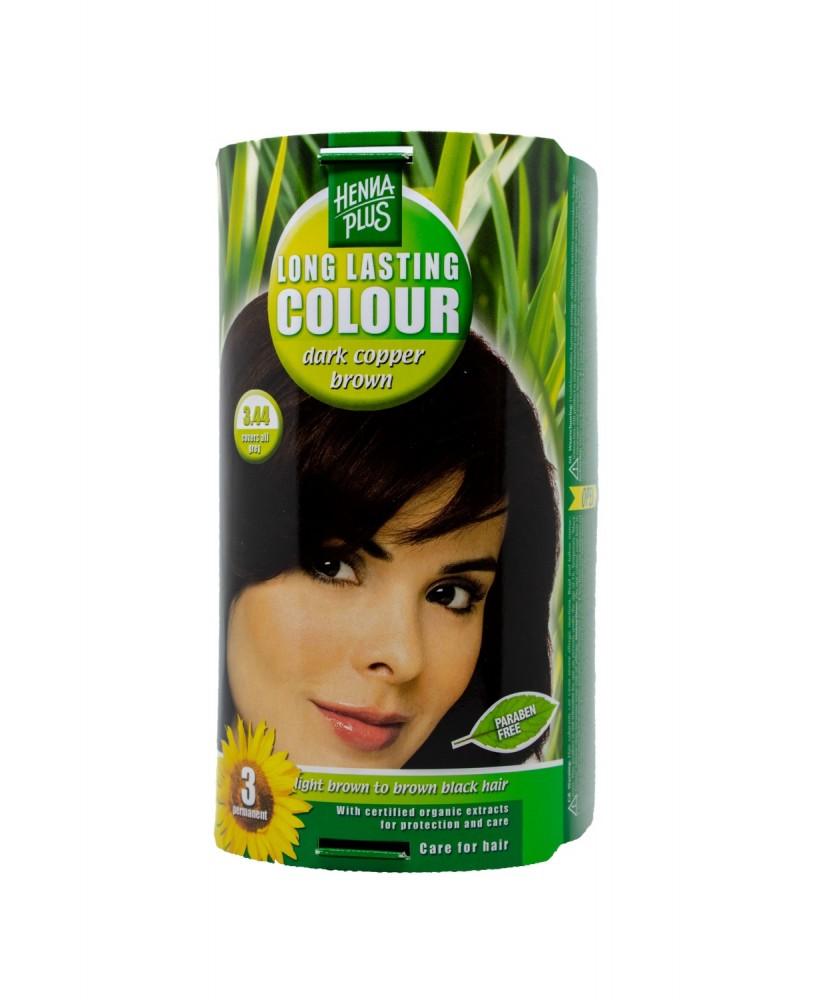 Hennaplus plaukų dažai ilgalaikiai spalva tamsi vario ruda 3.44