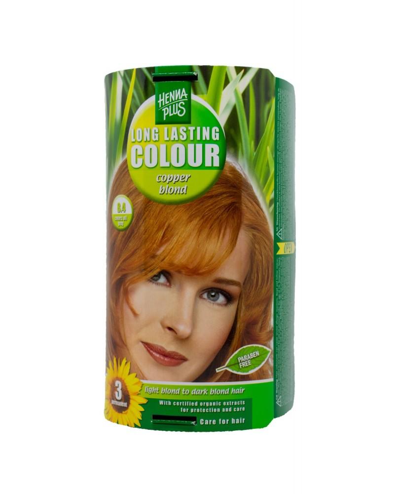 Hennaplus plaukų dažai ilgalaikiai spalva vario blondinė 8.4