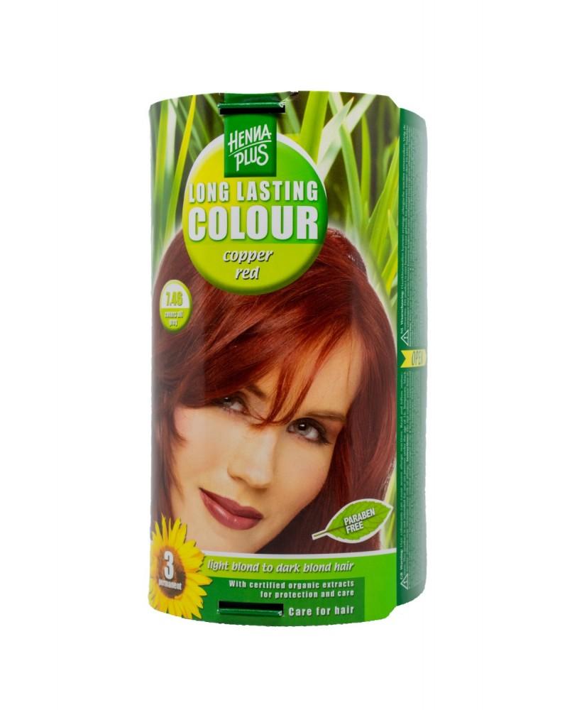 Hennaplus  plaukų dažai ilgalaikiai spalva vario raudona 7.46