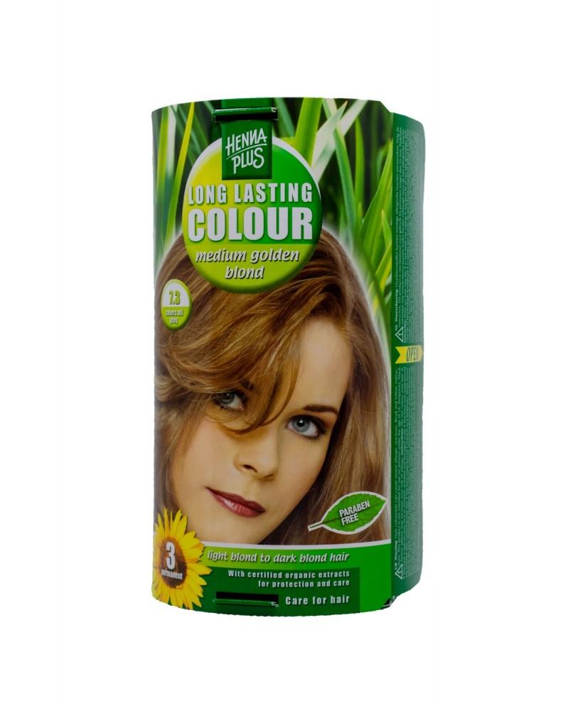 Hennaplus  plaukų dažai ilgalaikiai spalva vidutinė aukso blondinė 7.3