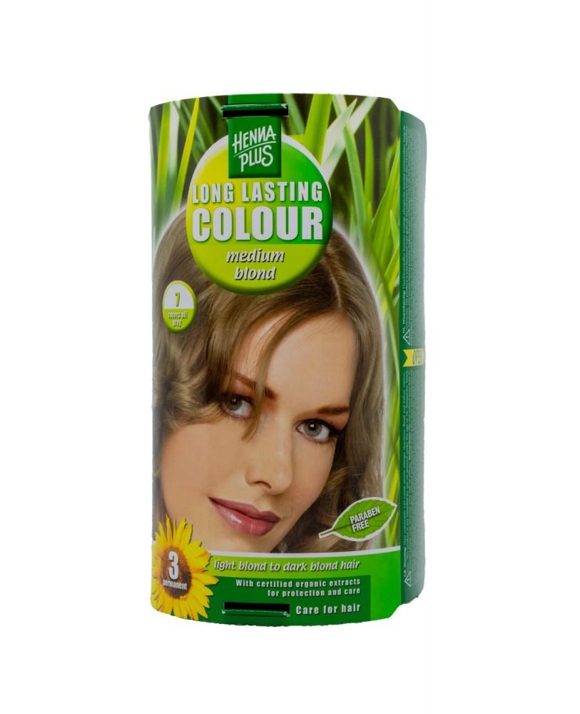 Hennaplus plaukų dažai  ilgalaikiai spalva vidutinė blondinė 7