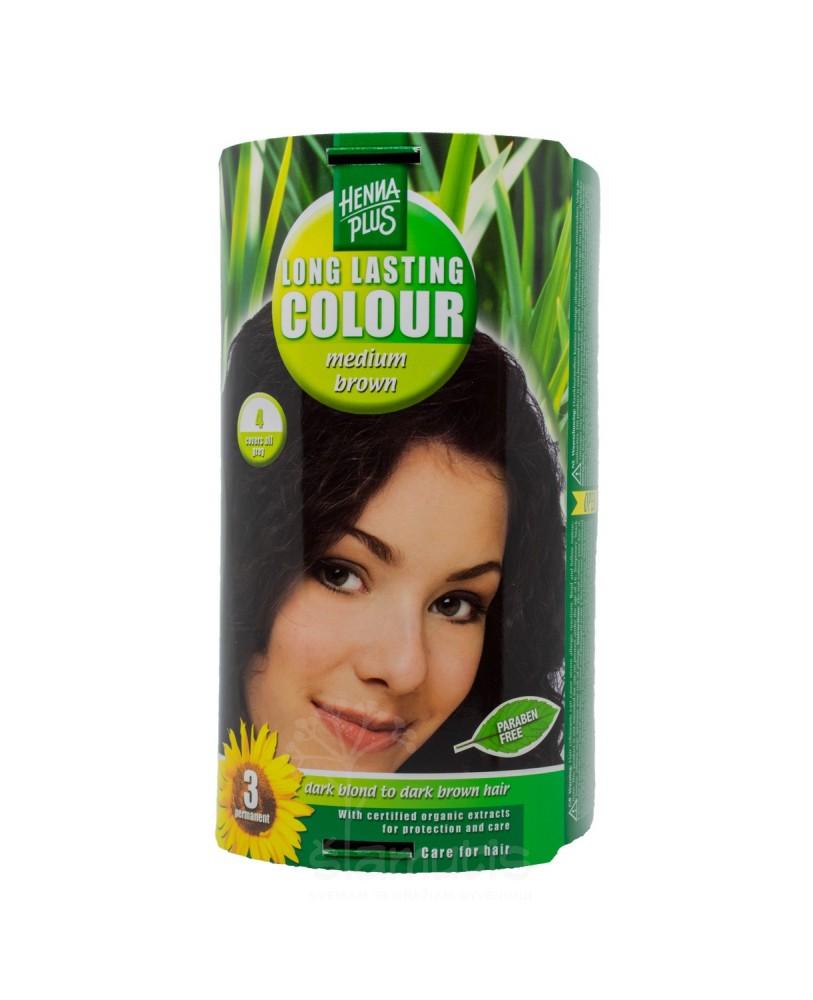 Hennaplus  plaukų dažai ilgalaikiai spalva vidutinė ruda 4