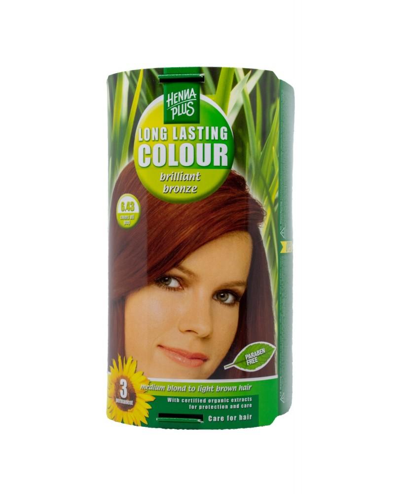 Hennaplus plaukų dažai ilgalaikiai spalva žvilganti vario 6.43