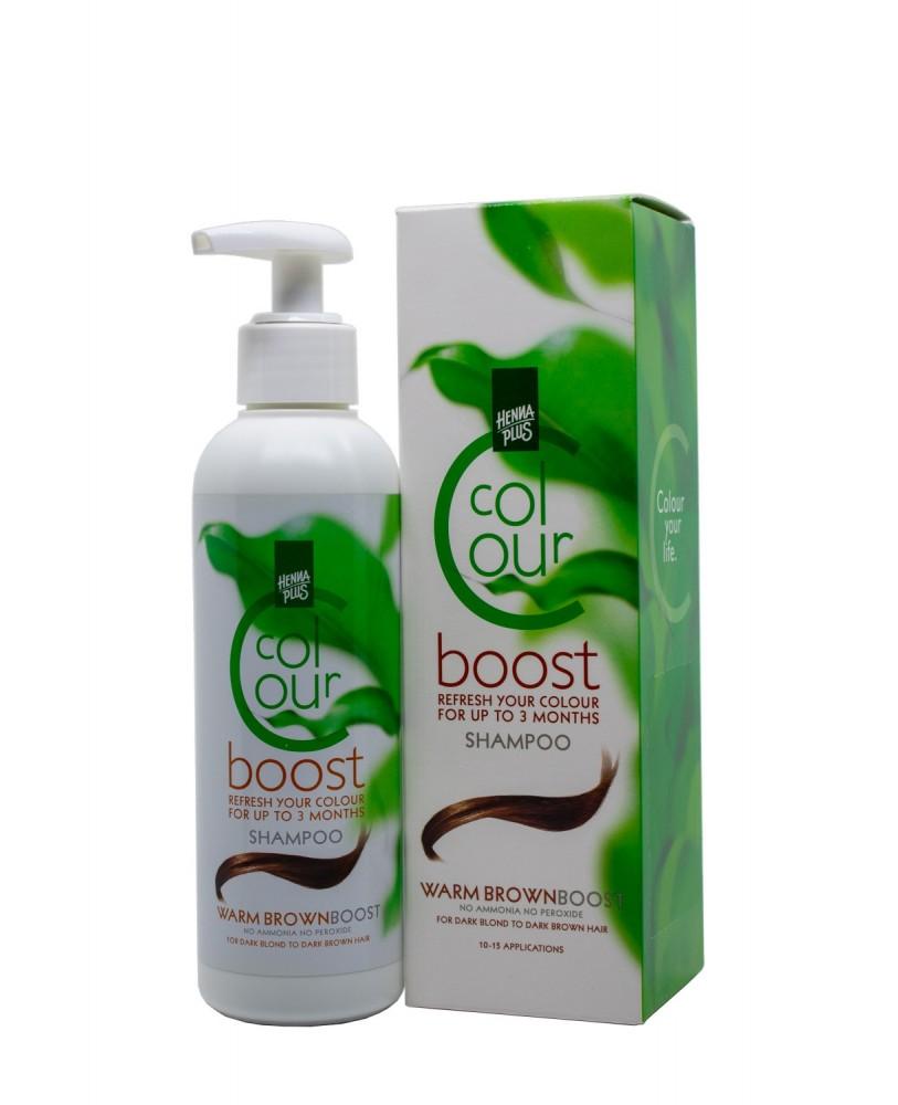 Hennaplus dažantis šampūnas Colour Boost spalva šilta ruda